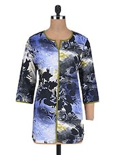 Abstract Printed Blue Cotton Tunic - By