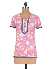 Pink Cotton Floral Print Kurta - By