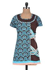 Floral Print Brown And Blue Cotton Tunic - By