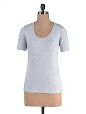 Grey Cotton Lycra Half Sleeves Top - By