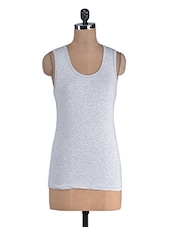 Grey Cotton Lycra Racer Back Top - By
