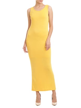 yellow viscose maxi dress