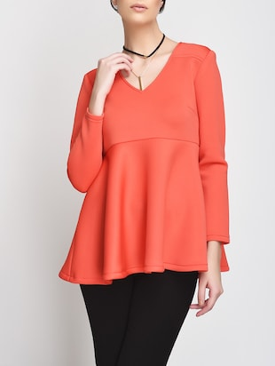 Solid coral v-neck top