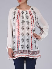 Off White Printed Poly Georgette Top - By