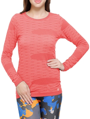 coral woven cotton regular top