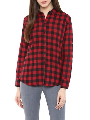 red checkered cotton regular shirt