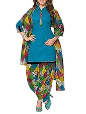 Blue Cotton salwar suits dress material -  online shopping for Dress Material