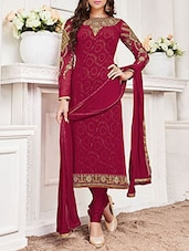 Wine embroidered unstitched suit set -  online shopping for Dress Material