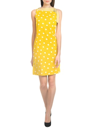 yellow none sheath dress