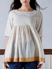 Cream Cotton Top With Mustard Border - By
