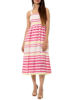 pink striped cotton dress -  online shopping for Dresses