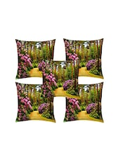 Shubh Collection Of Floral Print Of Cushion Cover (Set Of 5) - By