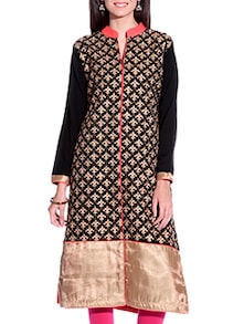 Embroidered Black and Gold Woolen Kurta