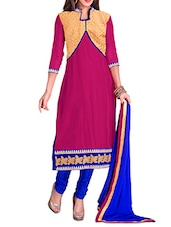Pink And Blue Unstitched Embroidered Suit Set - By