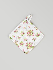 White Cotton Printed Quilted Cotton Kitchen Pot Holder - By