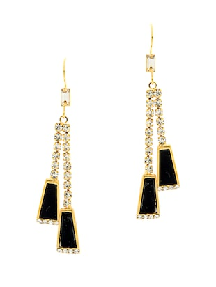 Unique Collection Black Stones Embedded Earrings For Women