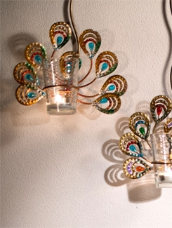 Peacock Wall Hanging With Tea Light Holder - Malhar