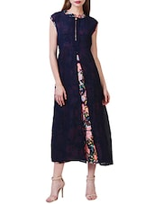 navy blue floral printed georgette dress -  online shopping for Dresses