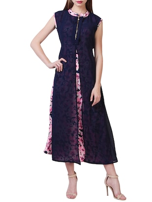 navy blue floral printed crepe dress -  online shopping for Dresses