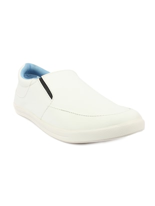 white Leatherette casual slip on
