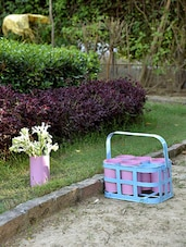 Blue And Pink Basket With 6 Cup Planters - By