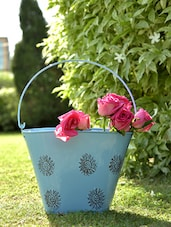 Blue Bucket Planters (Set Of 2) - By