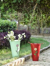 Red And Green Bucket Planters (Set Of 2) - By