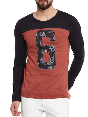 rust and black colour block cotton t-shirt