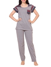 grey cotton pyjama nightwear set -  online shopping for nightwear sets