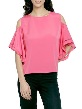 pink cold shoulder bell sleeve top