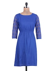 Cobalt Blue Lace Sleeved Rayon Dress - By