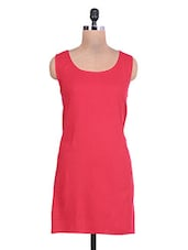 Red Rayon Dress With Elasticated Gathered  Back - By