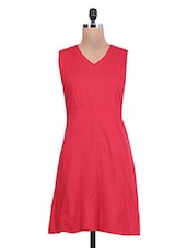 Red Sleeveless Rayon Dress With Cutout Back - By