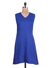 Cobalt Blue Rayon Dress With Cutout Back - By