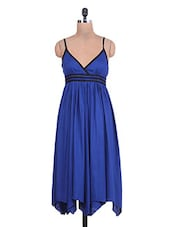 Cobalt Blue Gathered Rayon Slip Dress - By