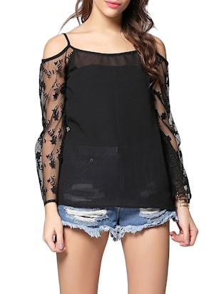 black floral embroidered georgette regular top