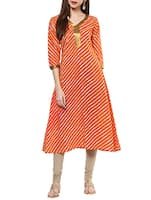 orange color cotton a-line kurta -  online shopping for kurtas