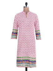 Red Printed Paisley Cotton Kurti - By