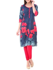 blue rayon long kurta kurta -  online shopping for kurtas