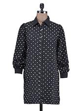 Black Poly Crepe Polka Dot Shirt Dress - By