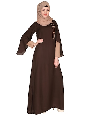 brown crepe dress -  online shopping for cloaks & abaya