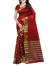 Red color cotton silk woven saree -  online shopping for Sarees