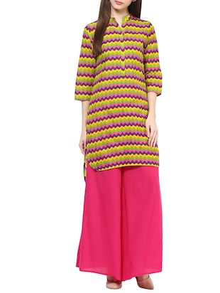 Multi colored cotton chevron printed High-Low kurta