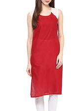 Maroon Cotton Colour Block Straight Kurta - By