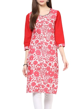Red cotton floral printed straight kurta