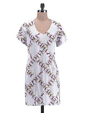 Abstract Printed White Cotton Tunic - By