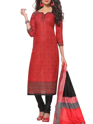 Red cotton printed unstitched suit