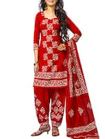 Red cotton salwar suits unstitched set -  online shopping for Dress Material
