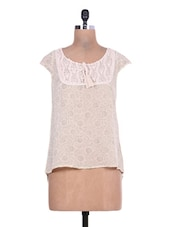 Beige Printed Georgette High-low Top - By