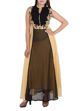 Brown & Black Georgette Long Kurta -  online shopping for gowns